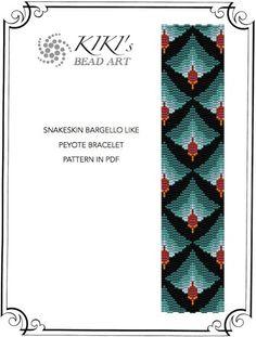 Snakeskin like bargello peyote bracelet cuff PDF by KikisBeadArt
