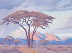 Jacob Hendrik Pierneef (South African painter) 1886 - 1957 Tabazimbi, Rustenburg, 1943 oil on canvas 46 x 61 cm. x 24 in.) signed and dated 'J. inscribed 'BY TABAZIMBI. African Paintings, South African Art, Landscape Art, Asian Art, Art Forms, Oil On Canvas, Cool Art, Art Projects, Fine Art