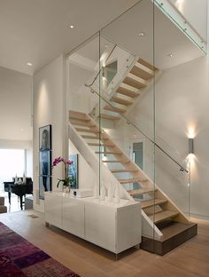 The PERFECT Glass Switchback Stair by JOHN BEAUCHAMP
