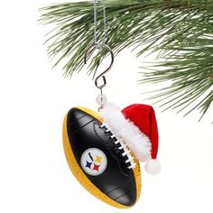 Pittsburgh Steelers Team Ball Ornament with Santa Hat