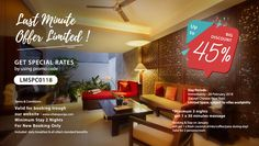 Last Minute Offer Limited Get Pecial Rates  By using promocode : LMSPC0118 . Big Discount Up to 45% From BAR GET EXTRA CASH BACK : 10% . www.villakayuraja.com