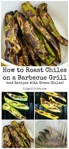 It's Hatch Chile Season, and this post shows how to roast your own chiles on a barbecue grill! Why roast chiles yourself? The flavor of the fresh-roasted chiles is amazing. [from KalynsKitchen.com]