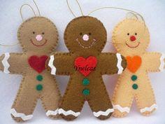 Gingerbread, Felt Christmas Ornament - Felt Gingerbread man - ONE ORNAMENT