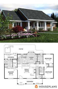 Elevation and plan for simple 1400sft. Veranda plus more would be my master sunroom. No basement