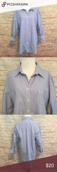 "Gap The Boyfriend Shirt Blue and white pinstripe button down ""The Boyfriend Shirt"" by Gap. 100% Cotton. Size Medium. Bust 44"". Length 30.5"". Like new condition. GAP Tops Button Down Shirts"