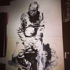 Warm up from a photo of the great Jack Levine #sketchbook #warmupsketch #jasonshawnalexander #ink #needmoreink