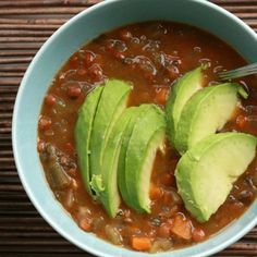 Build Your Own Soup - Topping Ideas: lentil soup topped w/ avocado.