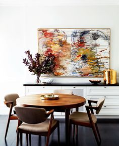 While respecting its heritage and period features the owner of this Sydney terrace injected a subtly modern aesthetic. Featured in the June/July 2016 issue of Belle. Photographed by David Wheeler. Interior design by owner Peter Stewart. Dining Room Design, Dining Room Furniture, Dining Room Table, Timber Furniture, Furniture Ideas, Terraced House, Victorian Terrace House, Townhouse Designs, Interior Decorating