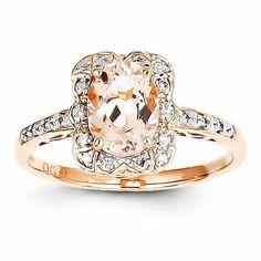 Polished Open Back Solid 14k Rose Gold Genuine Diamond Prong Set Genuine Morganite Width:2 mm Band Ring Top Length:10 Ring...