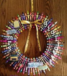 Personalized Crayon Wreath. http://hative.com/creative-wreath-ideas-for-christmas/