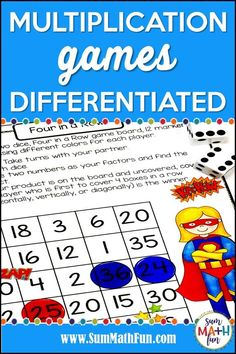"""I love these multiplication printable activities! Because they are differentiated - from arrays to fact fluency- I can easily and quickly choose a """"just right"""" game for each math group during math workshop. Multiplication Activities, Fun Math Activities, Movement Activities, Math Games, Math Classroom, Kindergarten Math, Math Groups, Math Workshop, Elementary Math"""