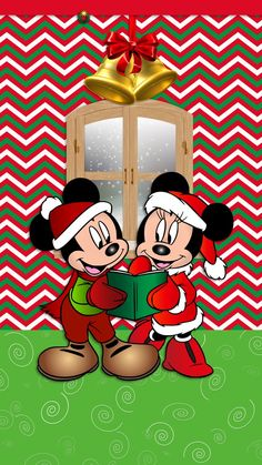 ༶Tee's iScreens༶ — Christmas Minnie & Minnie Mouse...