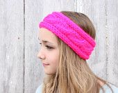 Chunky Cable Knit Headband - Neon Pink
