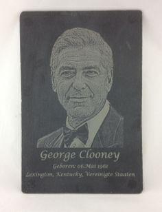 Laser Gravur Service - Baden bei Wien - Fotogravur auf Schieferplatte George Clooney, Cover, Art, Pictures, Personalized Gifts, Bathing, Stones, Art Background, Kunst