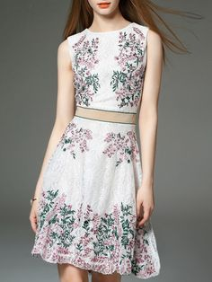 MOOERKERR Floral-embroidered Midi Dress 100% polyester #dress #mididress #2pieces