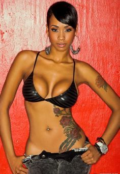 Sexy black women with ankh tattoo