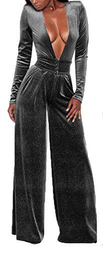 042f5502b265 Fensajomon Womens Casual V-Neck Long Sleeve High Waist Wide Leg Velvet Jumpsuits  Rompers Grey S