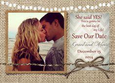 Rustic Save the Date, Lights, Burlap, Chevron, Photos, Digital File, Printable, 5x7