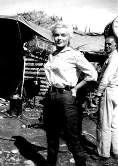 Marilyn Monroe on the set of River of No Return, 1953
