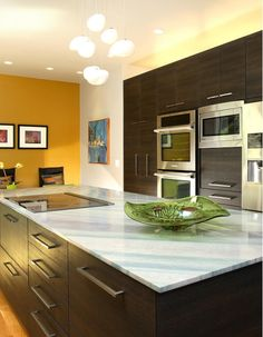 Contemporary kitchen accented with a bright yellow wall and hardwood floors