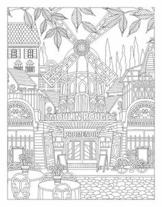 Moulin Rouge coloring page. Pattern Coloring Pages, Coloring Pages To Print, Coloring Book Pages, Printable Coloring Pages, Coloring Pages For Kids, Coloring Sheets, Colorful Drawings, Colorful Pictures, Doodle Coloring