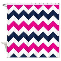 Chevron Shower Curtain-Navy Blue Hot Pink by GatheredNestDesigns