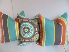 16x16 Outdoor Pillow Pillow CoverOrange Pillow by ClavelFashion