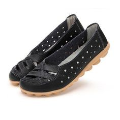 64811327240 Leather Pure Color Hollow Out Breathable Soft Sole Slip On Flat Shoes