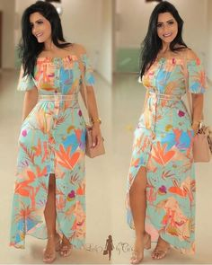 Looks maravilhosos da loja ______________________________________________ Whatsapp ? Lovely Dresses, Elegant Dresses, Casual Dresses, Summer Dresses, Dress Outfits, Fashion Outfits, Cute Outfits, Latest African Fashion Dresses, Frock Design