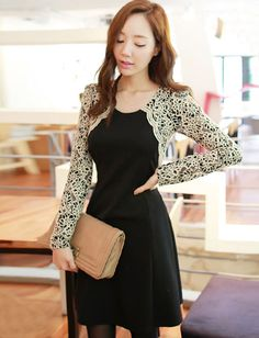 Sweet Lace Hollow-Out Sleeve Slim Dress