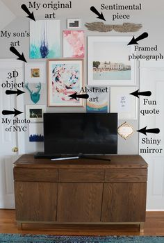55 trendy wall gallery ideas with tv tvs Pictures Around Tv, Decor Around Tv, Tv Wall Decor, Wall Stickers Home Decor, Wall Decals, Tv Wall Design, Framed Tv, Wall Collage, Collage Ideas