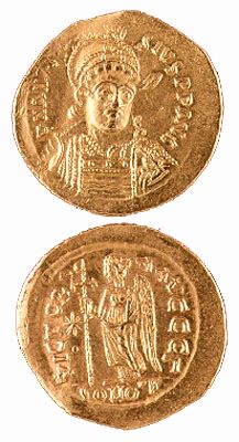 Byzantine gold coin of the Emperor Anastasius, ca. 491-518 AD.