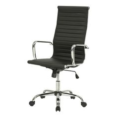 Black Bonded Leather High-Back Modern Swivel Office Chair with Arms