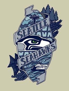 Go Hawks Art Print by @Scott Doorley Doorley Erickson #NFL #Seahawks #Seattle