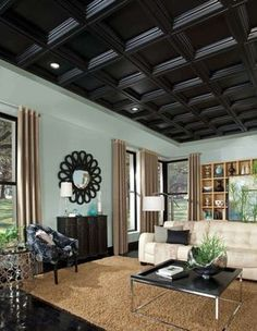 Kitchen and Residential Design: Forget everything you think you know about drop ceilings Armstrong ceiling tiles CEILINGS Plastic Ceiling Panels, Drop Ceiling Tiles, Dropped Ceiling, Home Ceiling, Ceiling Decor, Ceiling Design, Ceiling Ideas, Porch Ceiling, Plafond Design