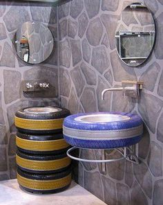 Repurposed tires into bathroom sink; great decor for garage or workroom studio restroom; Upcycle, Recycle, Salvage, diy, thrift, flea, repurpose, refashion! For vintage ideas and goods shop at Estate ReSale & ReDesign, Bonita Springs, FL
