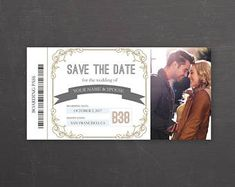Items similar to Custom for Katie- Boarding pass with couple's photo, hand foiled save the date, wedding or event invitation, hand made on Etsy Foil Save The Dates, Wedding Card Templates, Printing Labels, Travel Themes, Custom Wedding Invitations, Small Gifts, Thank You Cards, Destination Wedding, Boarding Pass