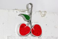 Pair of Cherries Pendant/ Necklace - Stainless Steel with Bright Red & Green Tinted Concrete with Crushed Glass