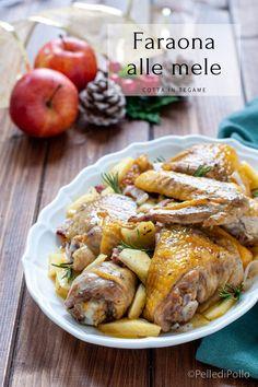 Gustosa #faraona cotta in tegame con #mele #pancetta e rosmarino, semplicissima da preparare. #ricette #createtoinspire #menudinatale #secondipiatti