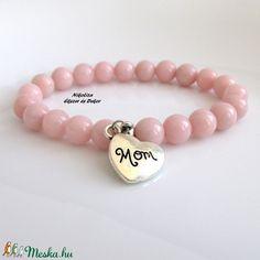 Anyák napi rózsaszín jáde ásvány karkötő Mom szív medállal (NikoLizaEkszer) - Meska.hu Beaded Bracelets, Jewelry, Jewellery Making, Jewels, Pearl Bracelets, Jewlery, Jewerly, Jewelery, Jewel