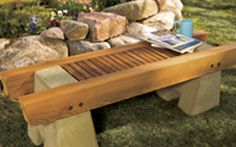 Great bench plans utilizing concrete and wood.  Concrete and Wood Garden Bench Plan - Woodwork City Free Woodworking Plans