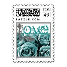TURQUOISE BLUE & SILVER Love Rose Wedding Stamp #wedding #stamps #love #marriage #romance #bride #groom #jaclinart #love #postage #turquoise #blue #silver #rose