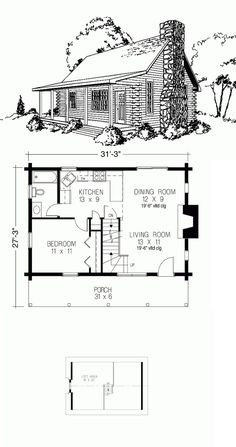 This log design floor plan is 910 sq ft and has 1 bedrooms and has 1 bathrooms. Log Cabin Floor Plans, Cabin House Plans, Tiny House Cabin, Craftsman House Plans, 2 Bedroom House Plans, Cottage Style House Plans, Cottage Floor Plans, Cottage House, Small Modern House Plans