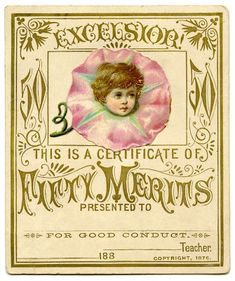Click on Image to Enlarge This dear little card is an old Merit Card from the 1880's. These were used by Teachers to reward good Students. This one has a tiny little Flower Fairy on it, she's wearing a Pink Morning Glory!