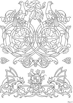 Elegant Medieval Iron-On Transfer Patterns (Dover Iron-On Transfer Patterns) Bird Coloring Pages, Colouring Pics, Adult Coloring Pages, Coloring Books, Medieval Embroidery, Vintage Embroidery, Embroidery Patterns, Medieval Pattern, Zentangle