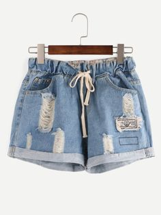 SheIn offers Ripped Drawstring Waist Rolled Hem Blue Denim Shorts & more to fit your fashionable needs. Distressed Denim Shorts, Ripped Jean Shorts, Blue Jean Shorts, Blue Denim, Denim Pants, Denim Overalls, Loose Jeans, Short Bleu Jean, Mode Shorts