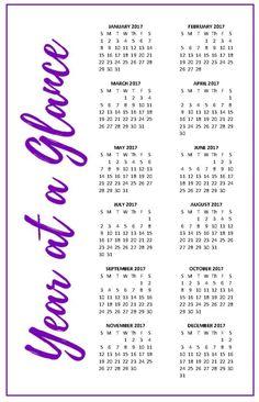 YearAtAGlance Calendar Free Printable  Alaina Ann