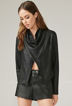 Marina T. Coated Jacket// #jacket #leather #fashion #style #stylish #F21 #forever21 @forever21