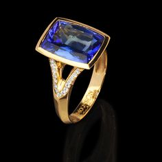 Mousson Atelier, collection New Classic, ring, Yellow gold 750, Tanzanite 5,85 ct., Diamonds
