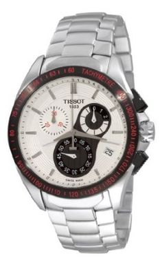 Tissot Mens Velcro-T Stainless Steel White Dial Watch Casio Watch, Chronograph, Omega Watch, Stainless Steel, Accessories, Wrist Watches, Markers, Water, Watches